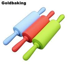 Mango de plástico de tamaño pequeño Herramienta Para Hornear Pasteles rodillo de silicona para amasar juguete para niños