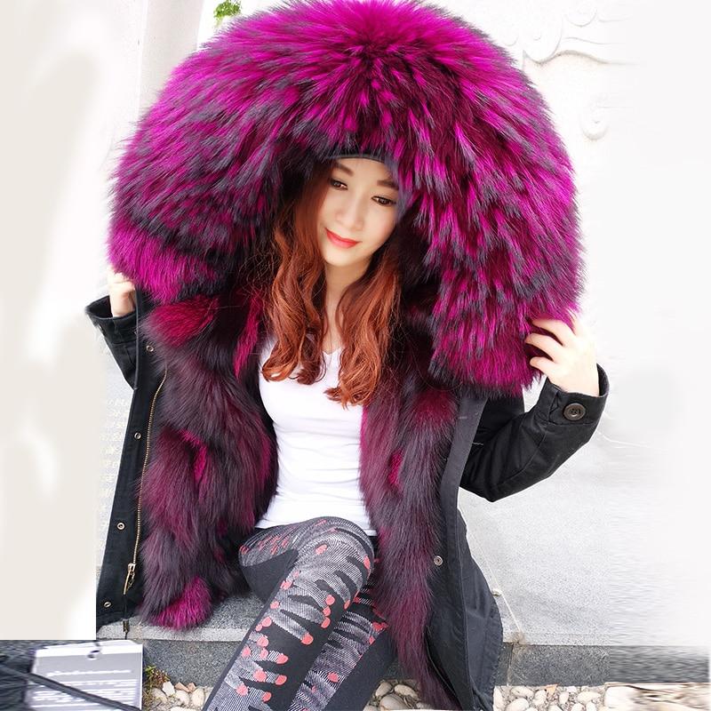 2020 moda chaqueta de invierno las mujeres prendas de vestir gruesa parkas mapache natural collar forro de piel de zorro real Abrigo con capucha marca el Sr. Gran oferta