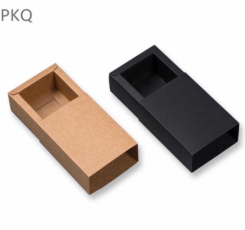 Grand coffret cadeau en papier kraft noir 10 pièces, petit coffret en carton kraft, tiroirs de grande taille pour t-shirts