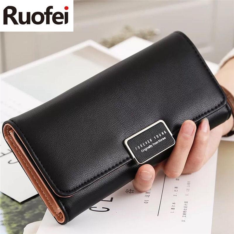 RUO FEI  new Arrival Women Wallets Purse Female Purse Women's Natural Leather Wallets PU Ladies Clutch Phone Bag Carteira Femini