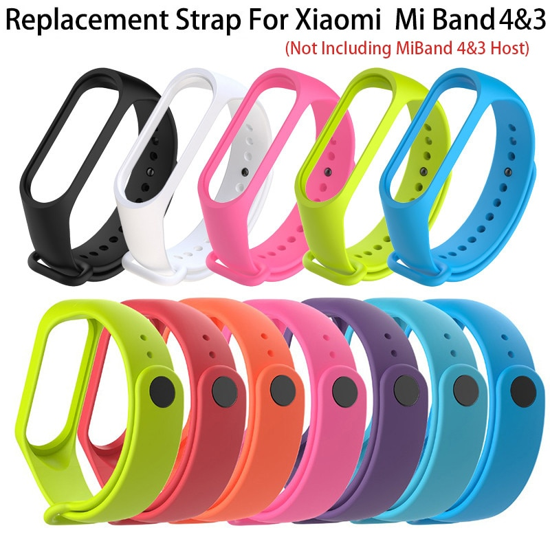 Silicone Strap For Xiaomi Mi Band 4 Mi Band 3 Smart Band Replacement Wrist Strap For mi 4 3 Band For xiaomi mi 3 mi 4 watchband