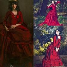 Vintage Mina Dracula victorien robes de mariée à manches longues 2019 gothique Halloween rouge foncé jardin robes de mariée grande taille