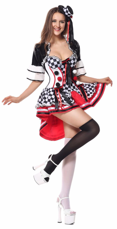 Disfraz de Reina del Póker Harley Quinn de lujo Para mujer, disfraz de Halloween, payaso de circo, Carnaval, disfraz de fantasía femenina Para fiesta