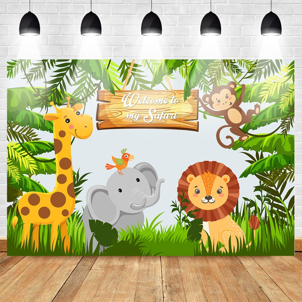 Jungle Safari Woodland Party Photo Backdrops Animal Forest Child Kids Birthday Backdrops Banner Photography Background Props