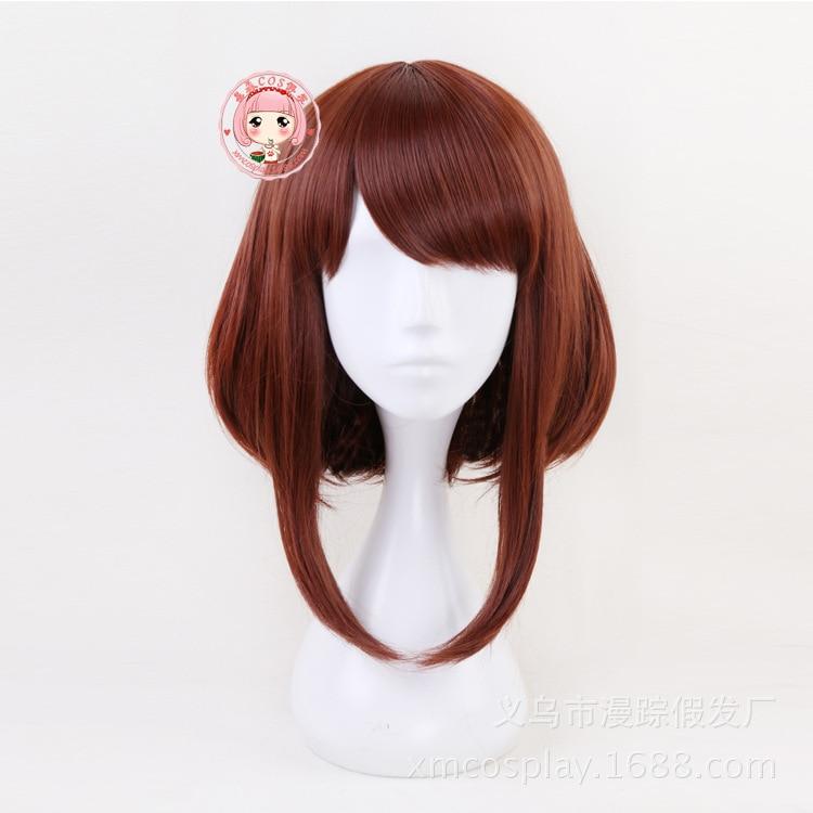 2019 New My Hero Academia Boku no Hiro Uraraka Ochako Cosplay Wig Short Auburn Bobo Heat Resistant Synthetic Costume Hair Women