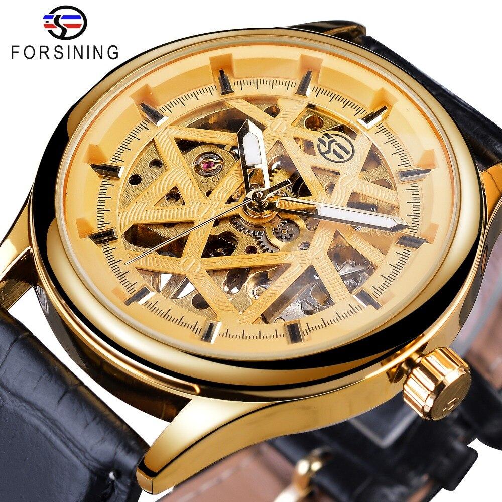 Relojes de pulsera mecánicos Forsining con mecanismo dorado Retro Royal Classic a la moda para hombre, reloj de lujo para hombre