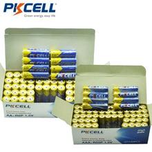 (Paquete combinado de 120 piezas) PKCELL 1,5 V batería Extra pesada 60 uds AA R6P + 60 uds AAA R03P baterías secas de carbono-Zinc de un solo uso