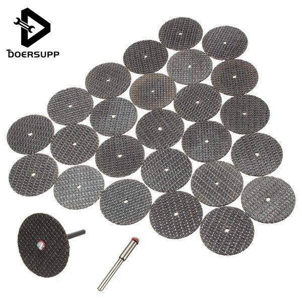 25 unids/set de disco de corte de Metal para amoladora dremel, herramienta rotativa, hoja de sierra Circular, lijado de corte de rueda con 1 pieza de accesorio de mandril