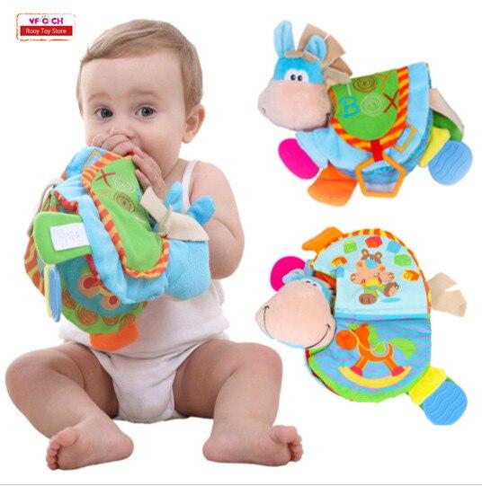 Тканевые книжки-погремушки, игрушки с зубами, милый осел животное, развивающая коляска для новорожденных, книга для детей 0-12 месяцев, подарок для ребенка