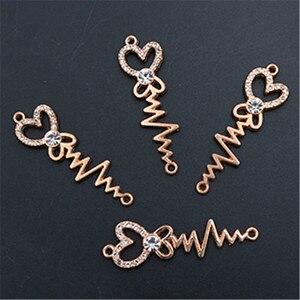 WKOUD 6pcs handmade rhinestone kc gold ECG heart-shaped scepter charm fashion DIY metal jewelry alloy connectors A1373