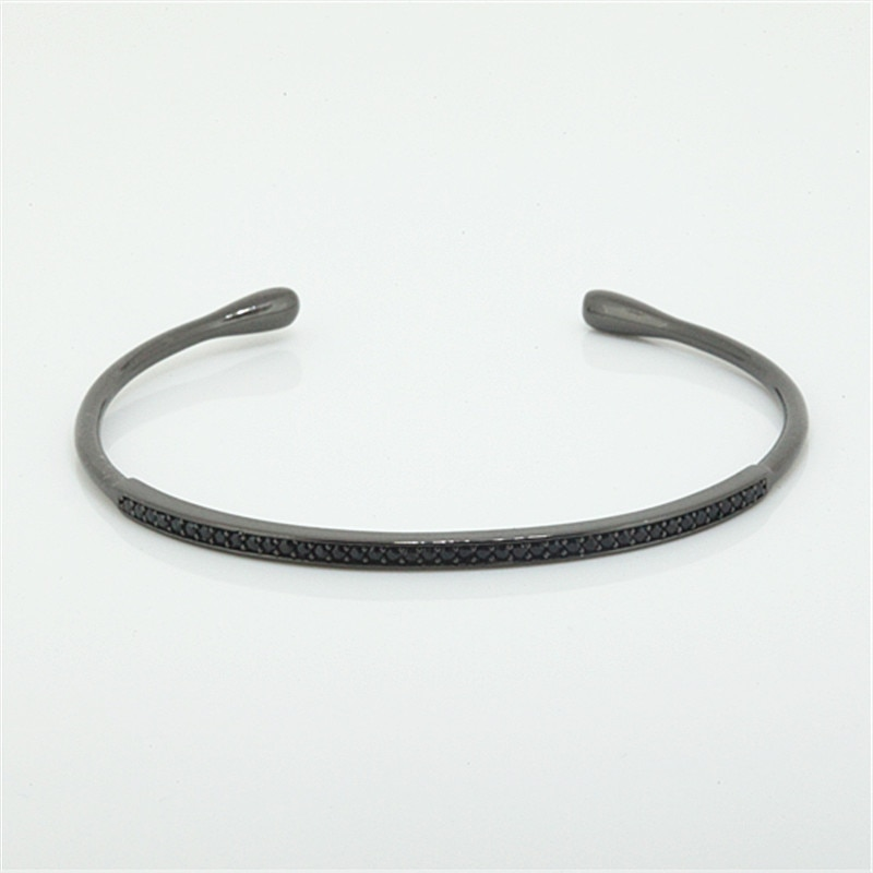 1pc Brand Anil Arjanda Cuff Bangles Charm Pave Black CZ Open Bangles Bracelets for Men Women Jewelry