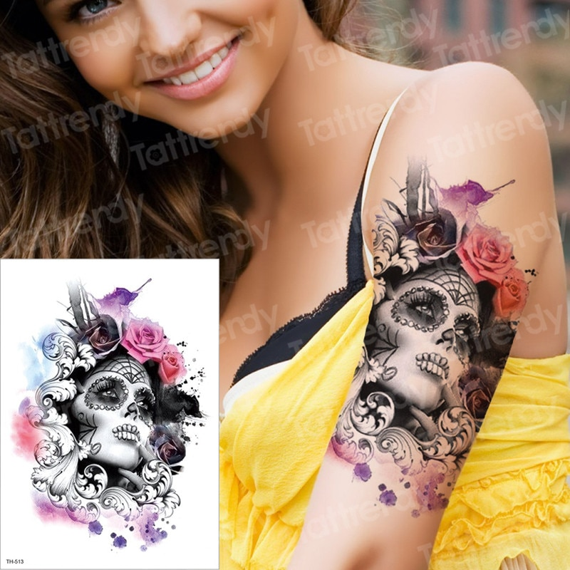 AliExpress - temporary tattoo & body art tattoo sticker arm sleeve tattoo waterproof fake tatoo men women death skull halloween face tattoo