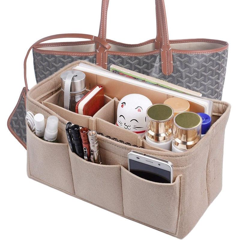 Fashion Women Bag Cosmetic Bags And Make up Organizer Felt Insert For Handbag Cloth Inner Fits Various Brand