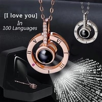 charm rose gold 100 languages i love you projection pendant necklace for women new romantic memory wedding necklace gifts