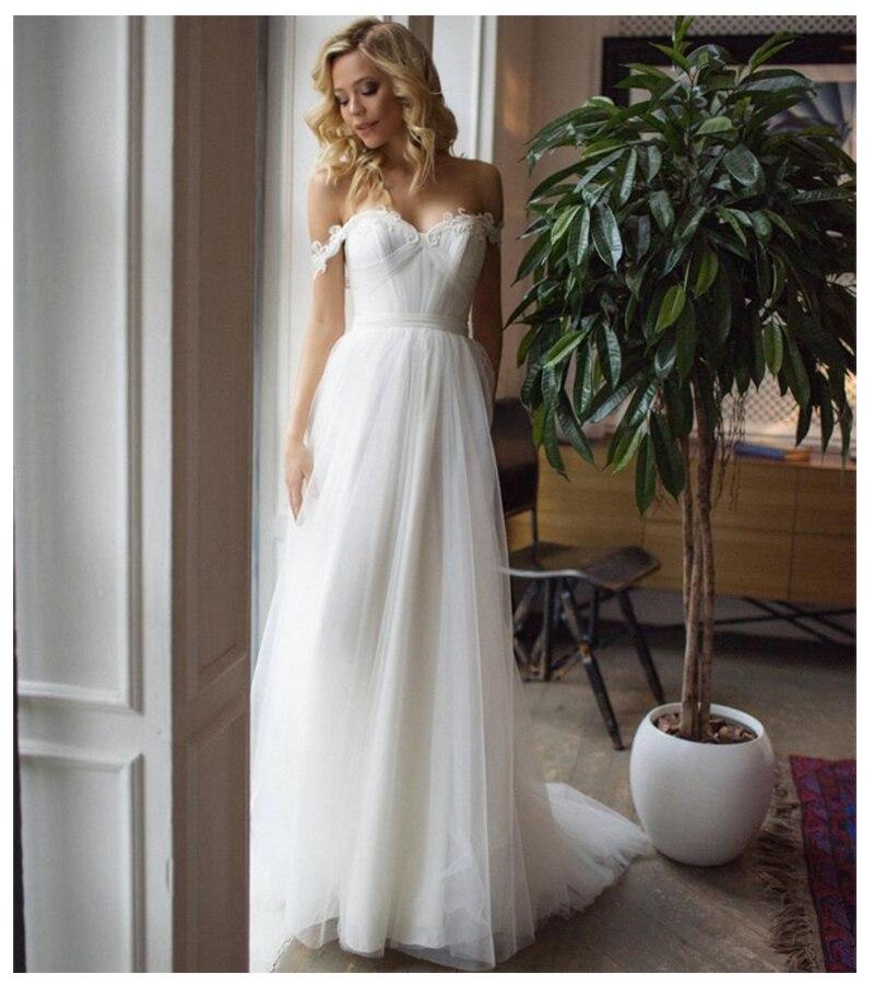Vestidos de novia Bohemia escote corazón apliques Línea A vestido de novia sin hombro vestido de Boda de Princesa de tul