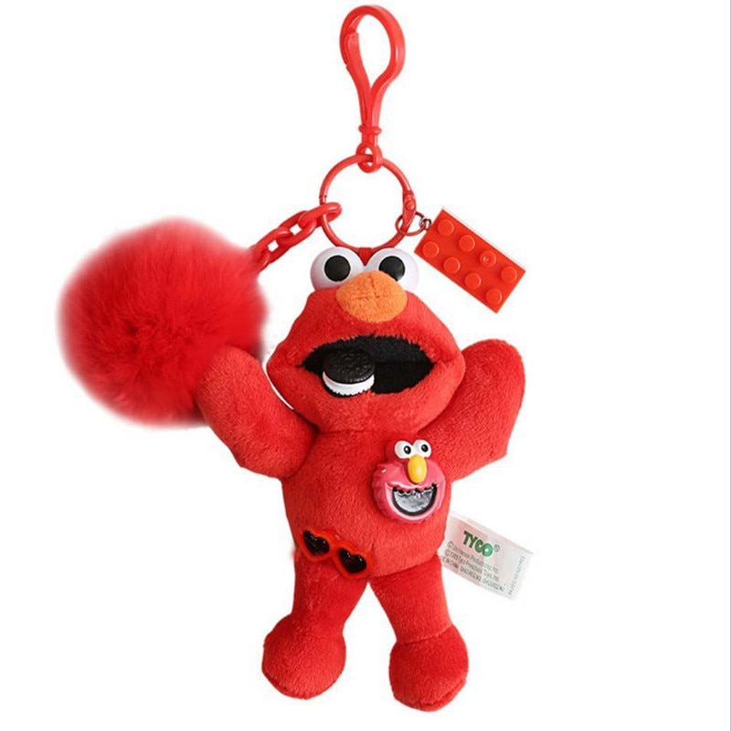 New Sesame Street Keychain Elmo Cookie Monster Soft Plush Keychain Plush Toy Cartoon Doll Stuffed Car Key Chain Bag