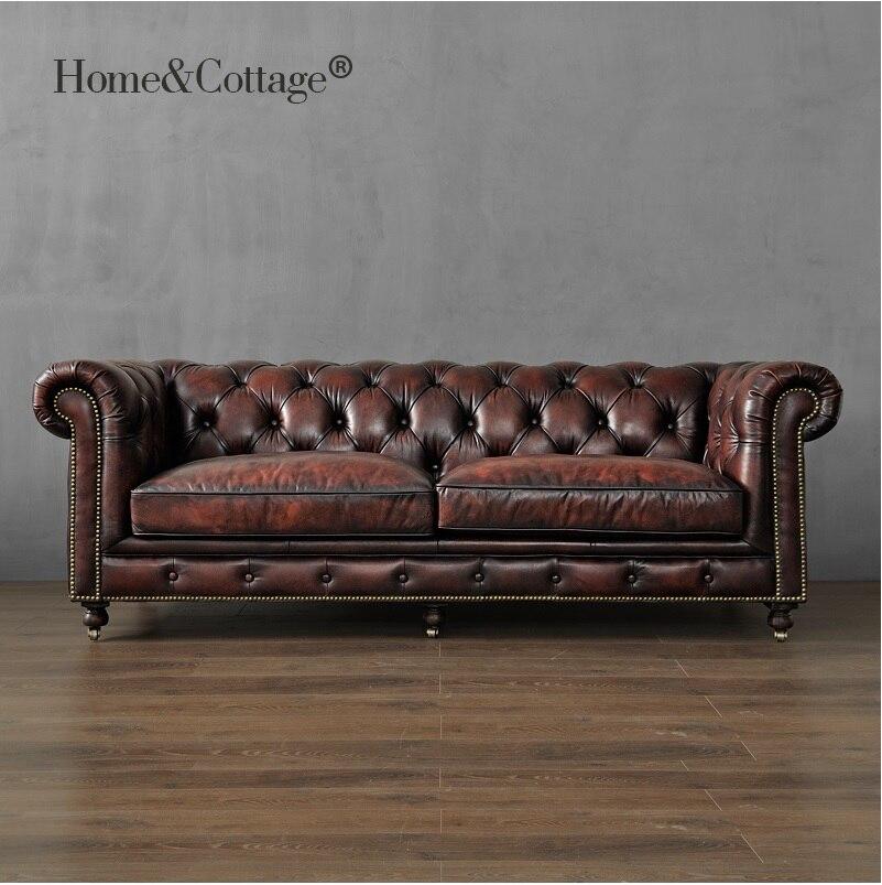 Sofá del Club del siglo XIX de 226 cm/sofá individual de 121 cm/El paquete incluye 1 asiento-sofá, 1 amante-sofá, 1x226 cm 3 asientos
