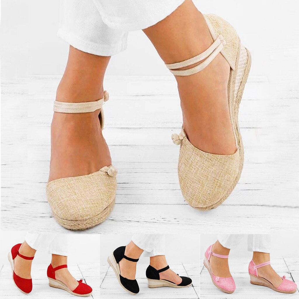 Sandalias de cuerda de cáñamo de paja para mujer, sandalias informales Retro de lona de lino con cuña y punta redonda, sandalias individuales con punta cerrada 34-40
