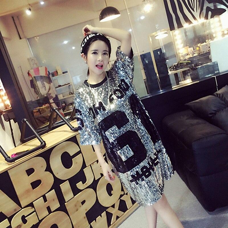 Camisa larga chicas Poleras Mujer traje de baile Jazz mujeres club nocturno DS camisetas con lentejuelas Mujer camiseta Casual mejores amigos camisetas