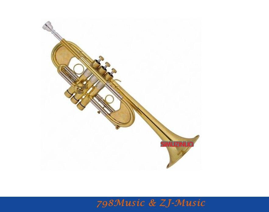 Nível profissional fosco latão trompete pesado c chifre série personalizada com caso
