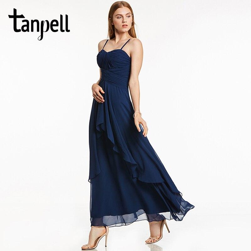 Tanpell-فستان سهرة طويل ، أزرق داكن ، بلا أكمام ، أحزمة سباغيتي ، خط ، طول الكاحل ، حفلة موسيقية ، فستان سهرة رسمي