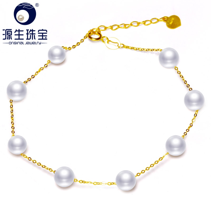 Ys real 18 k ouro 5-6mm branco pérola pulseira chinês de água doce pérola pulseira jóias