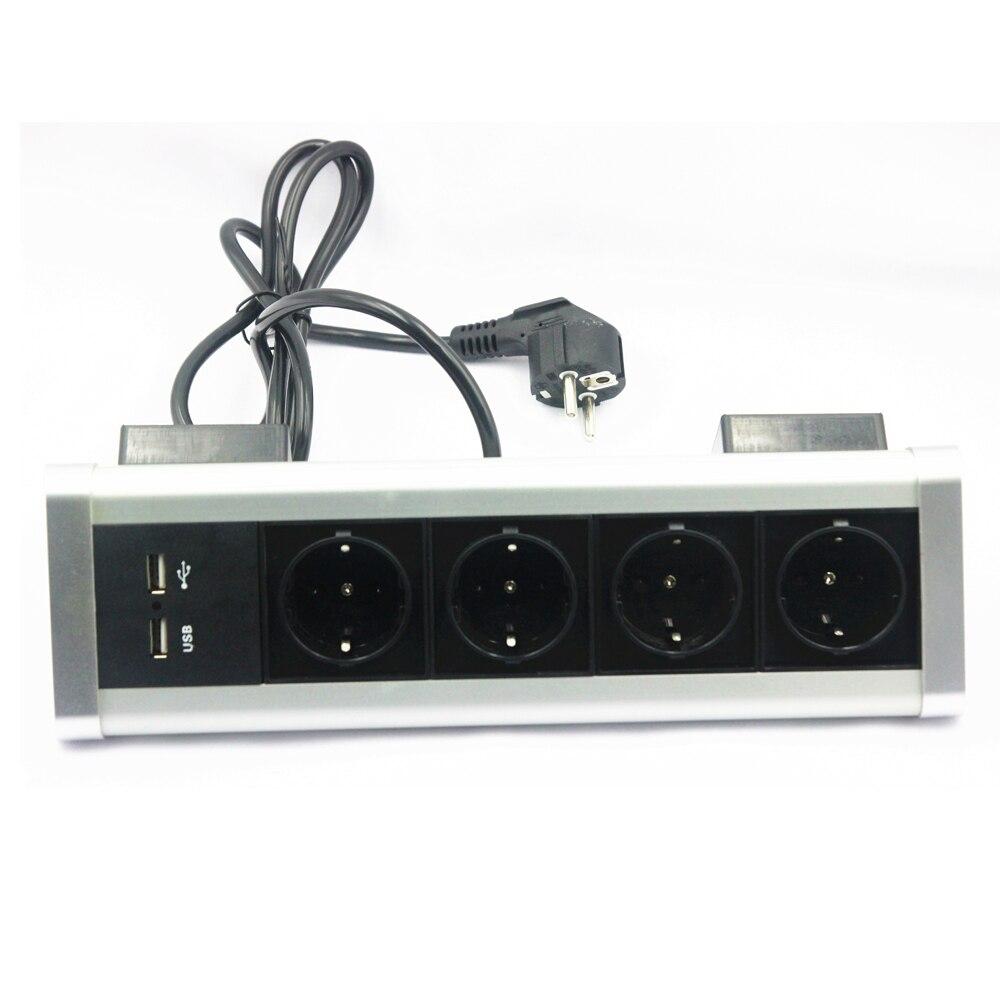 مثلث سطح المكتب الكهربائية المقبس الثابتة بواسطة المسمار كليب 4 الاتحاد الأوروبي المقابس الطاقة 2 منافذ USB للمطبخ مكتب منضدية منفذ تمديد