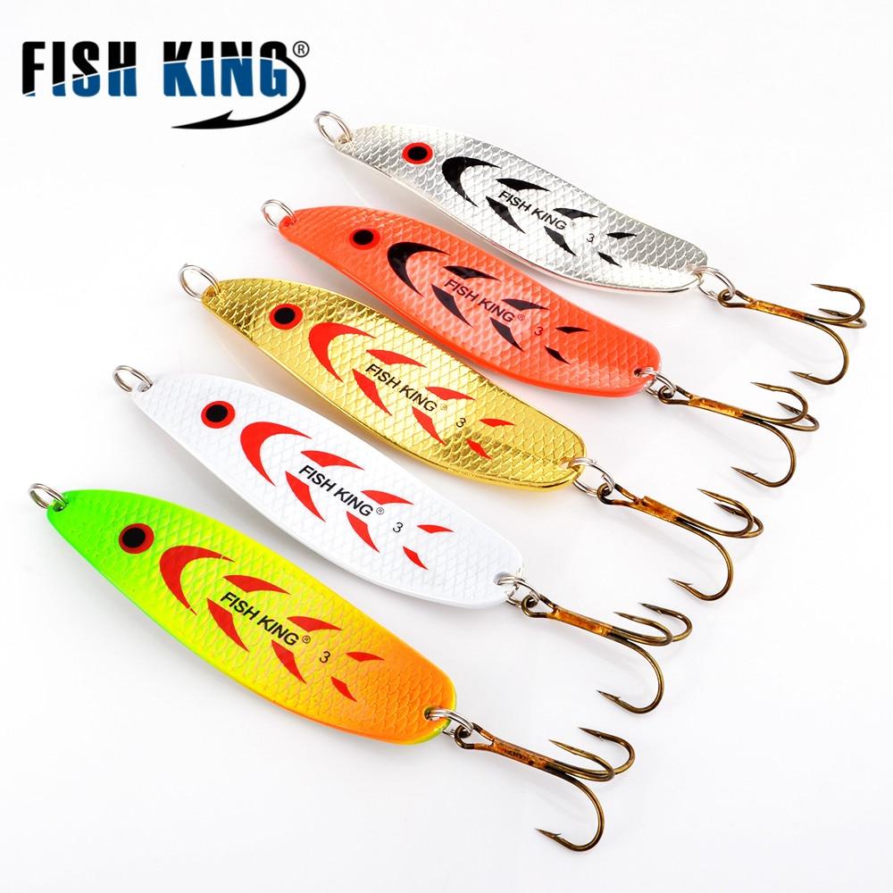 FISH KING 20-30 г металлическая ложка, жесткая рыболовная приманка, Искусственные воблеры для троллинга, ложка для форели, приманка для окуня, щука с тройным крючком