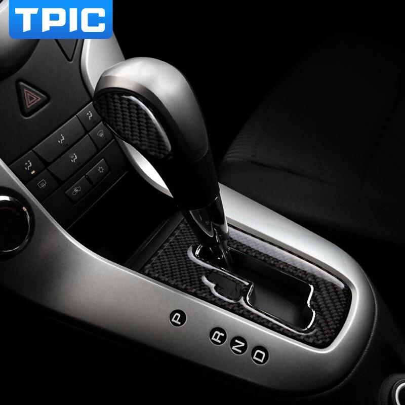 Centro de coche de panel de caja de cambios decorativo Cubierta de fibra de carbono tira de ajuste Interior 3D pegatina para Chevrolet Cruze 2009-2015