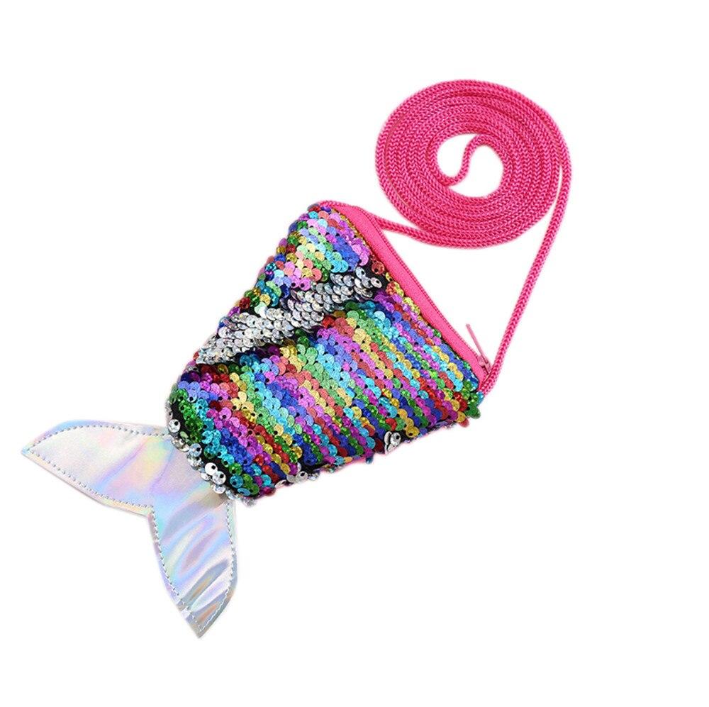 Precioso monedero de lentejuelas de sirena, bolso con correa para el cuello, bolso brillante para niñas, Bolso pequeño con cremallera, bolso bonito, paquete de llaves