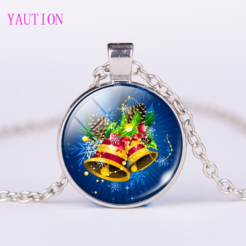 3/Color  New Arrival Christmas Jewelry Jingle Bell Pocket Watch Necklace Glass Art Print Pendant Gif