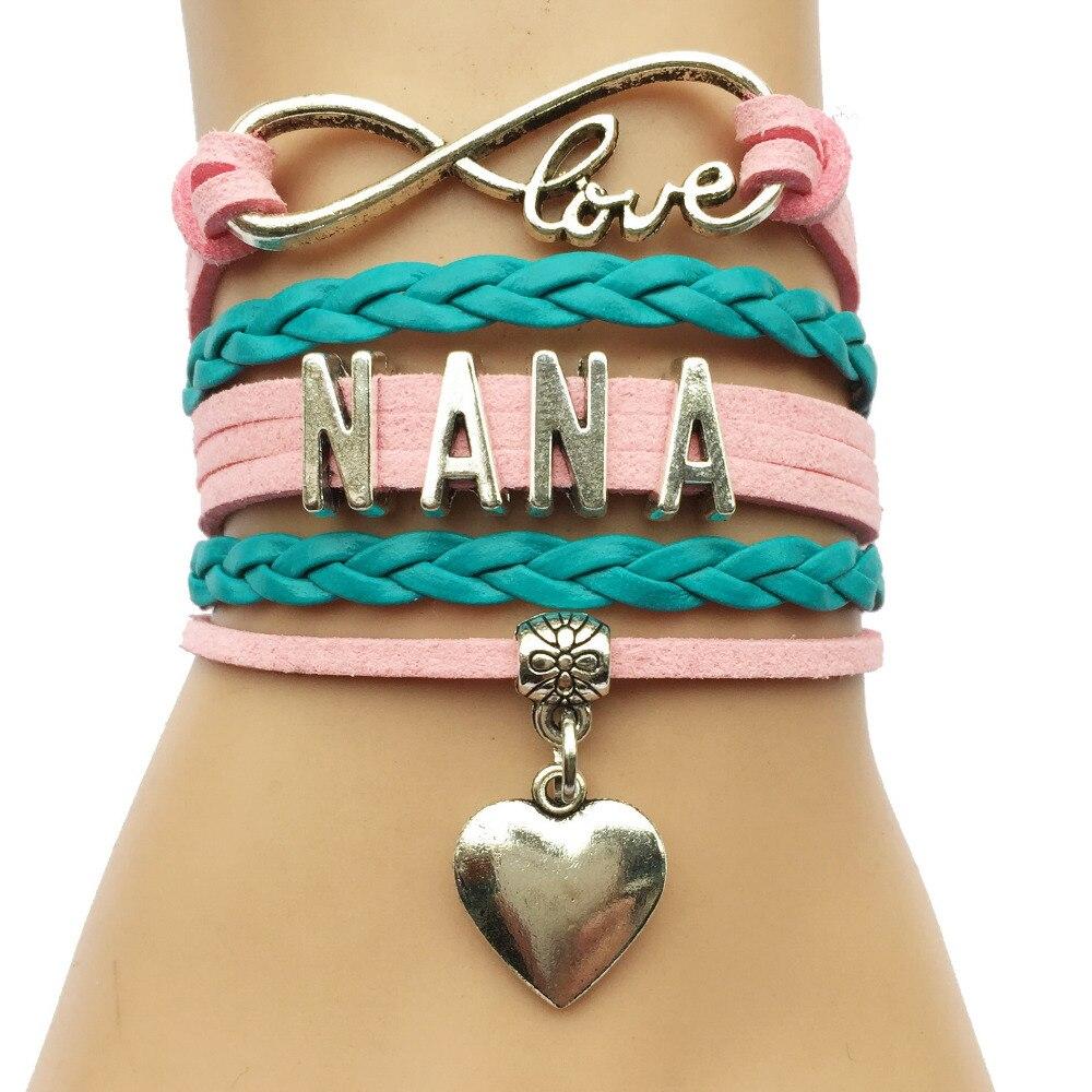 Infinito amor Nana pulsera-Cuero de terciopelo personalizado trenzado Color rosa colgante de corazón familia regalo de Navidad