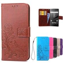 Z5 luxe rétro cuir PU + portefeuille en silicone souple étui à rabat pour Sony Xperia Z5 étui Compact Coque de téléphone avec fentes pour cartes cas