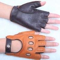 womans leather half finger gloves high quality breathable anti slip spring summer semi finger fitness gloves female el116