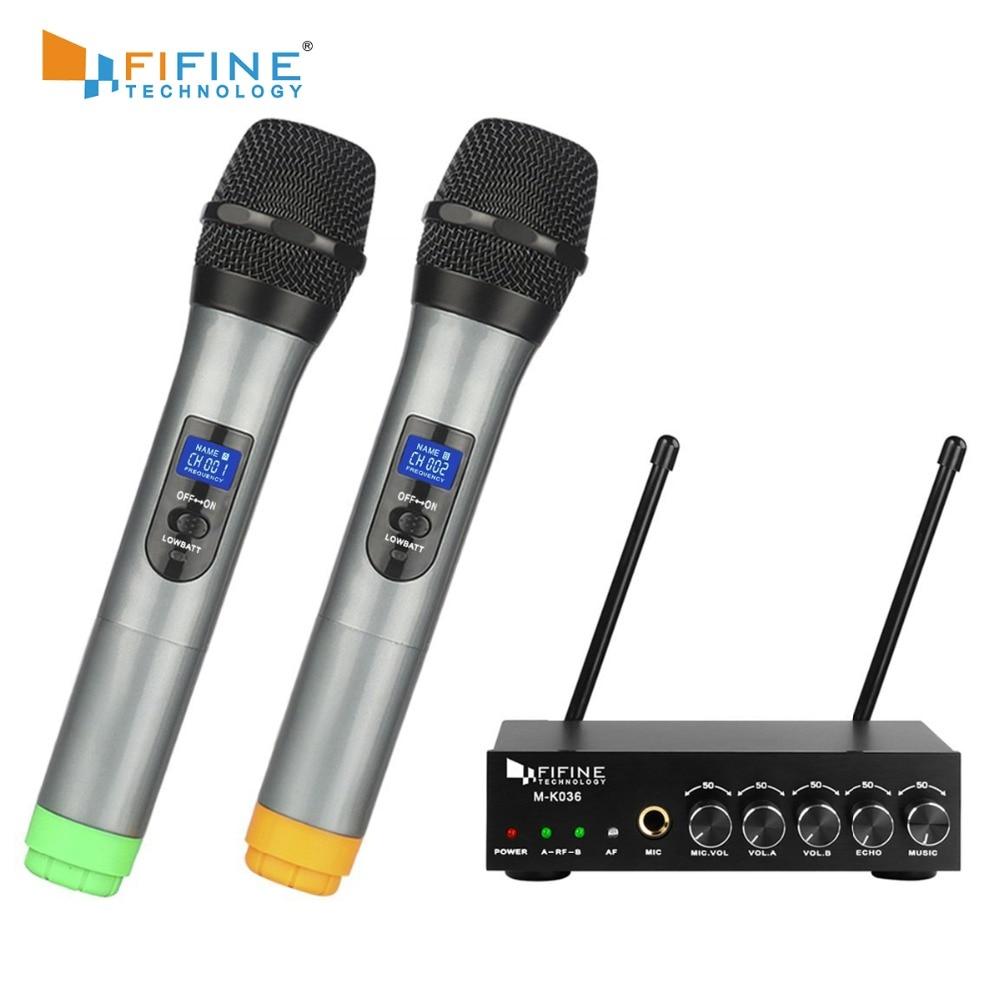 Fifine UHF-ميكروفون لاسلكي مزدوج القناة ، ميكروفون محمول باليد ، سهل الاستخدام ، كاريوكي ، نظام ميكروفون لاسلكي K036