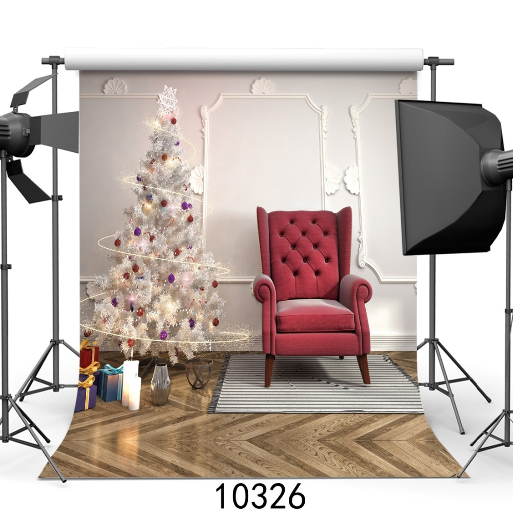 Photography Backdrops White Christmas Tree Indoor Backgrounds for Photo Studio Family Party Children Baby Photophone Photocall