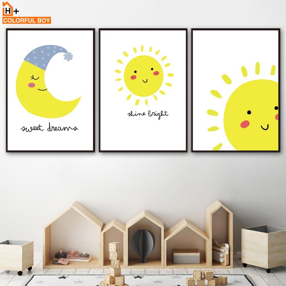 Amarillo lindo sol Luna pared arte lienzo pintura carteles nórdicos e impresiones dibujos animados arte Pop pared fotos bebé niños habitación decoración de casa