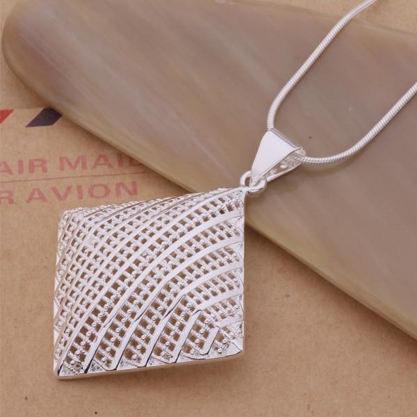 Collar de Cuadrado hueco grande Chapado en plata clásica para mujer diseño exquisito AN203