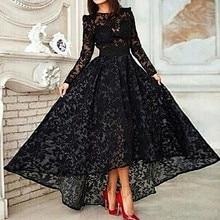Noir musulman robes de soirée a-ligne manches longues thé longueur dentelle islamique dubaï saoudien arabe longue élégante robe de soirée