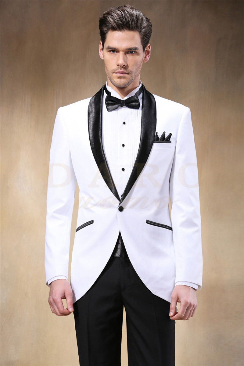 Chaqueta blanca negro pico solapa hombres novio boda trajes Slim Best Men Tailcoat negocios Prom trajes a medida a067