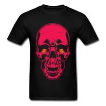 Evil Skull Neon Roze Zwart T-shirt Mannen Mode Hipster Hip-Hop Tee Shirt Casual Korte Mouw Custom Katoen gemaakt