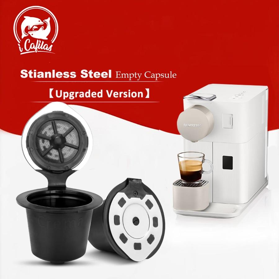 2 adet yeniden doldurulabilir Nespresso için yükseltme sürümü kahve kapsül filtre Pod orijinal hat Nespresso Espresso makinesi