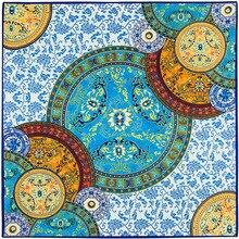 100 cm * 100 cm Euro Marca Cinese sciarpe bianche e blu Italiano palazzo retro big heavy twill di seta della sciarpa scialle Sciarpa Quadrata