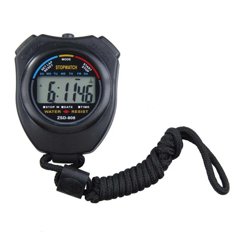 Deportes nuevos cronómetro profesional de mano Digital LCD deportes cronómetro cronógrafo contador temporizador con correa
