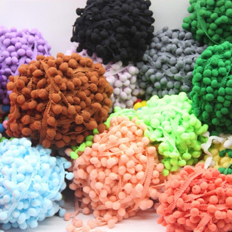 1yard pom Pom Trim Ball Sewing Accessior Pompom Ball lace Trim Tassel Fringe Ribbon Kintted Fabric DIY Craft Apparel Accessories