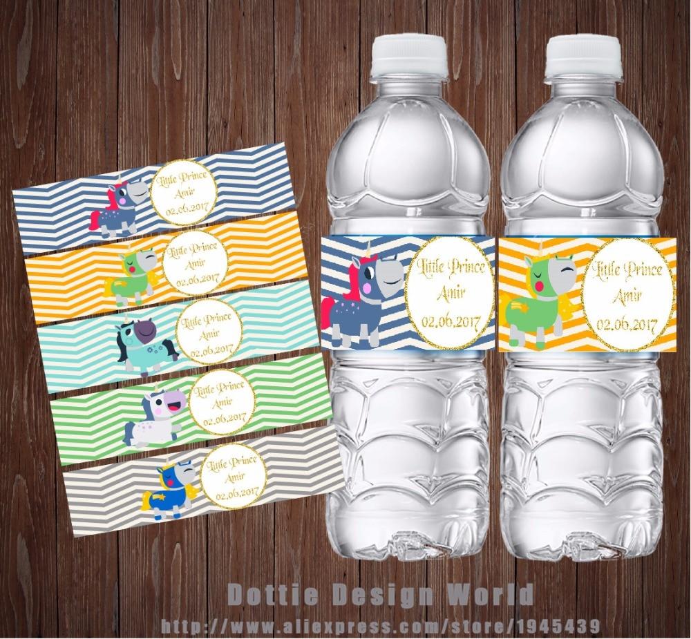 20 unids/lote de etiquetas de botella de agua personalizadas unicornio vino champán etiqueta caramelo Bar envoltura Baby shower fiesta de cumpleaños decoración