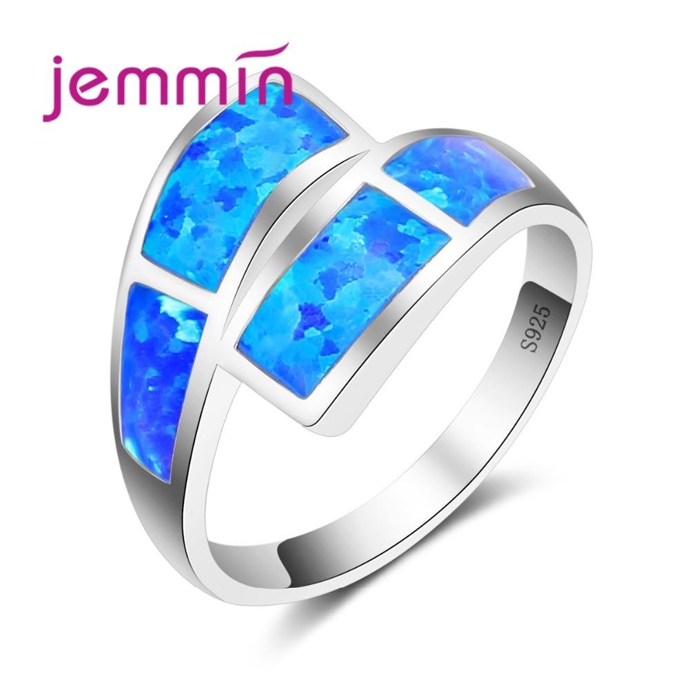 Nuevo Anillo de ópalo de Fuego Azul de moda, joyería de plata de ley 925, joyería de compromiso para fiesta de boda para mujeres, gran venta