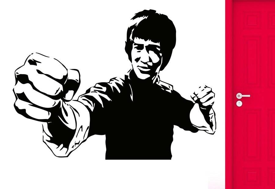 Kung Fu Ster Bruce Lee Muurstickers Celebrity Afbeelding Vinyl Muurstickers Movie Liefhebber Muurstickers DY31