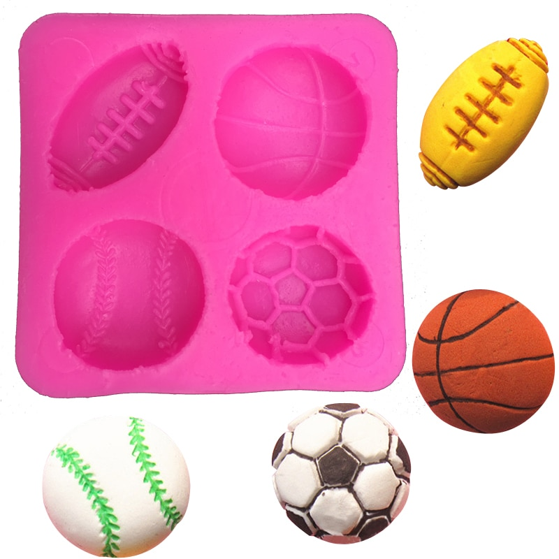 Fútbol baloncesto tenis fondant silicona molde para cocina chocolate pastelería caramelo arcilla hacer cupcakes decoración herramientas FT-0149