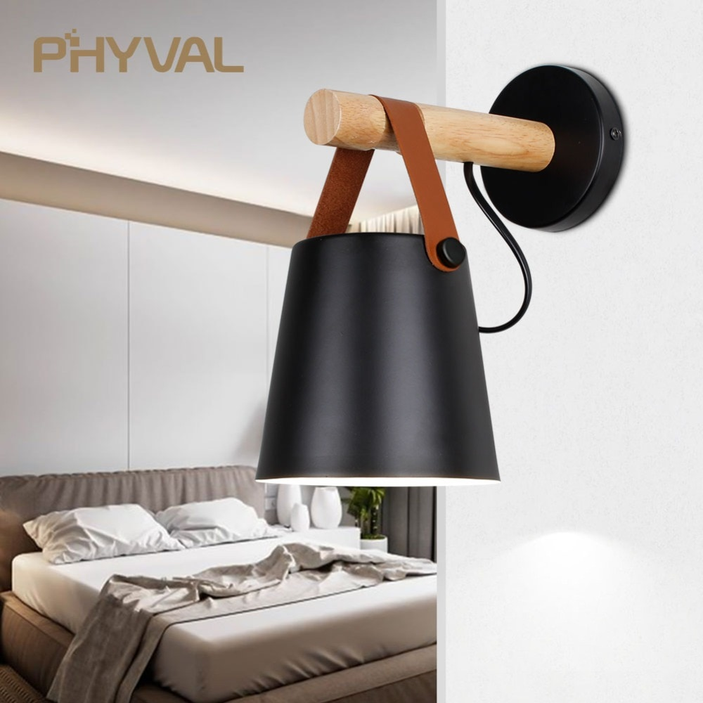 Светодиодный настенный светильник, деревянная настенная лампа, прикроватная кровать, ночник, современный скандинавский абажур, домашний декор, белый и черный пояс E27 85-265 в